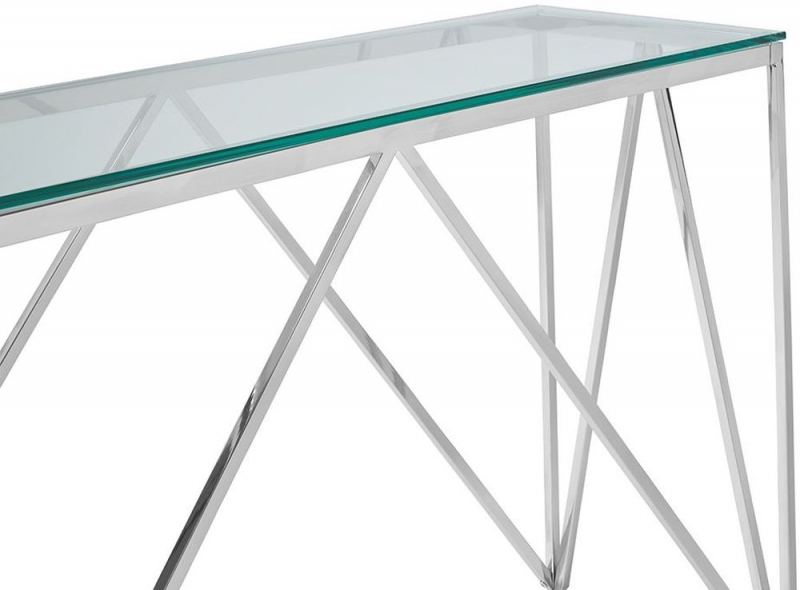 Serene Star Glass and Silver Console Table