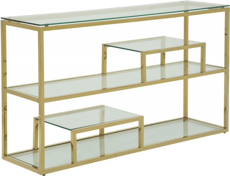 Serene Lucia Glass and Gold Console Table
