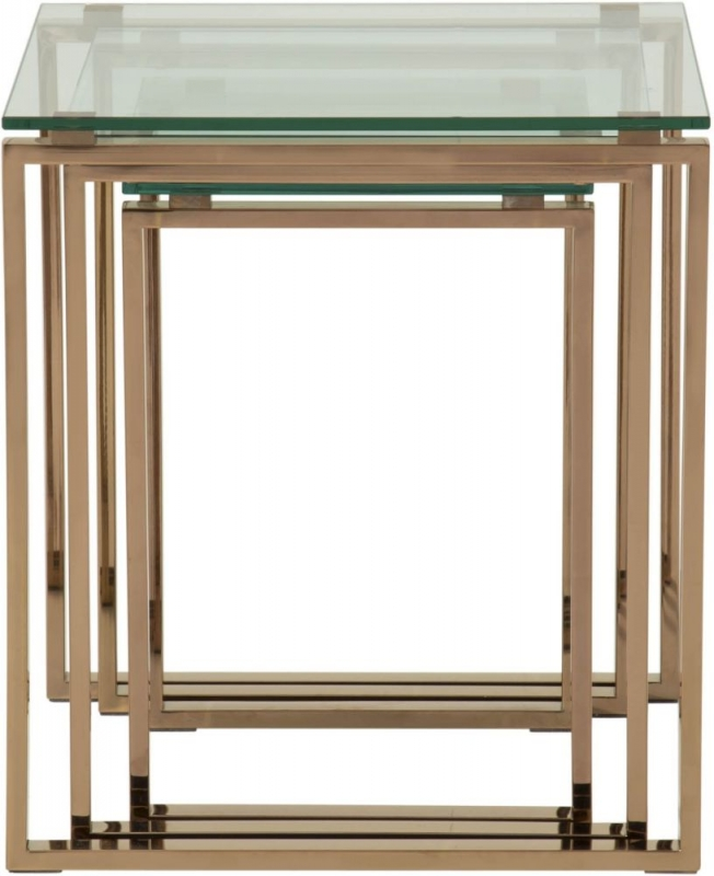 Serene Kayla Glass and Rose Gold Nest of Tables