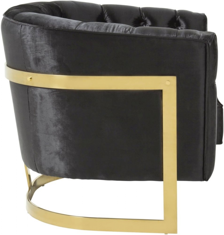 Serene Leah Black and Gold Velvet Fabric Accent Chair