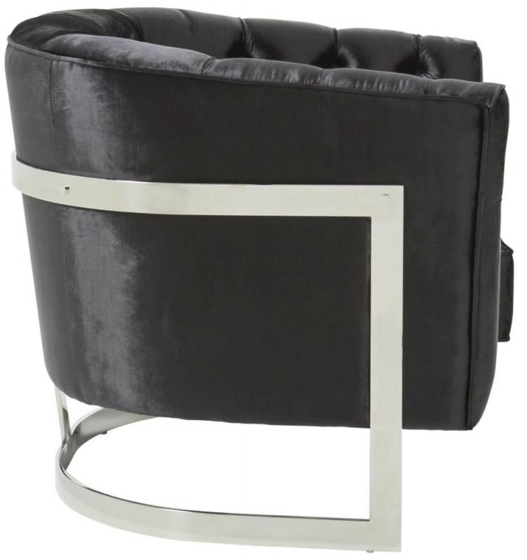 Serene Leah Black and Silver Velvet Fabric Accent Chair