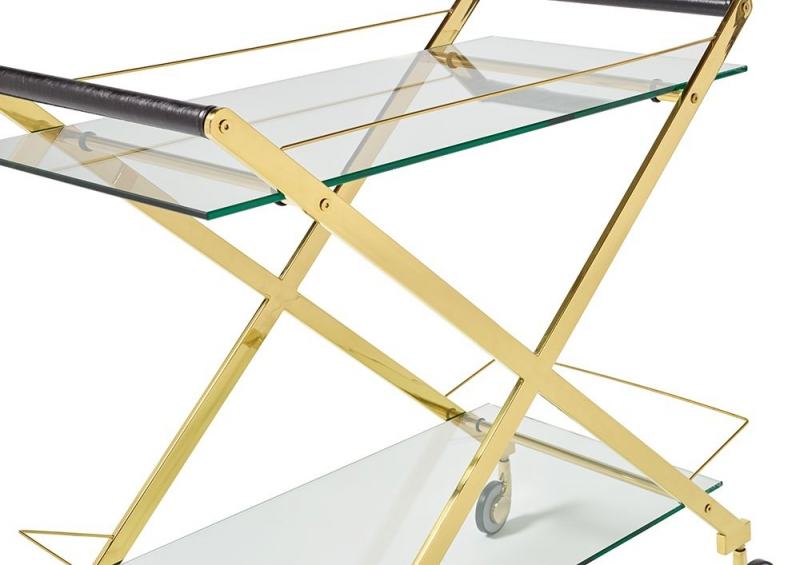 Serene Angelina Glass and Gold Drinks Trolley