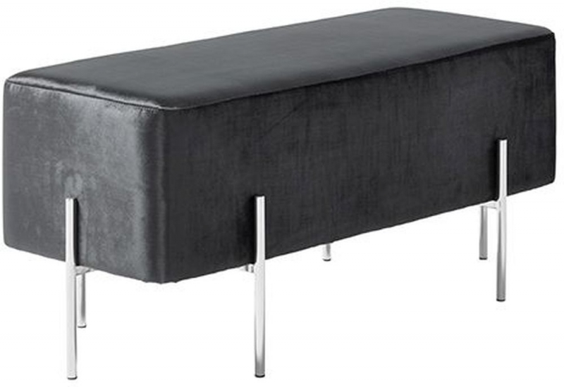 Serene Madelyn Black and Silver Velvet Fabric Bench