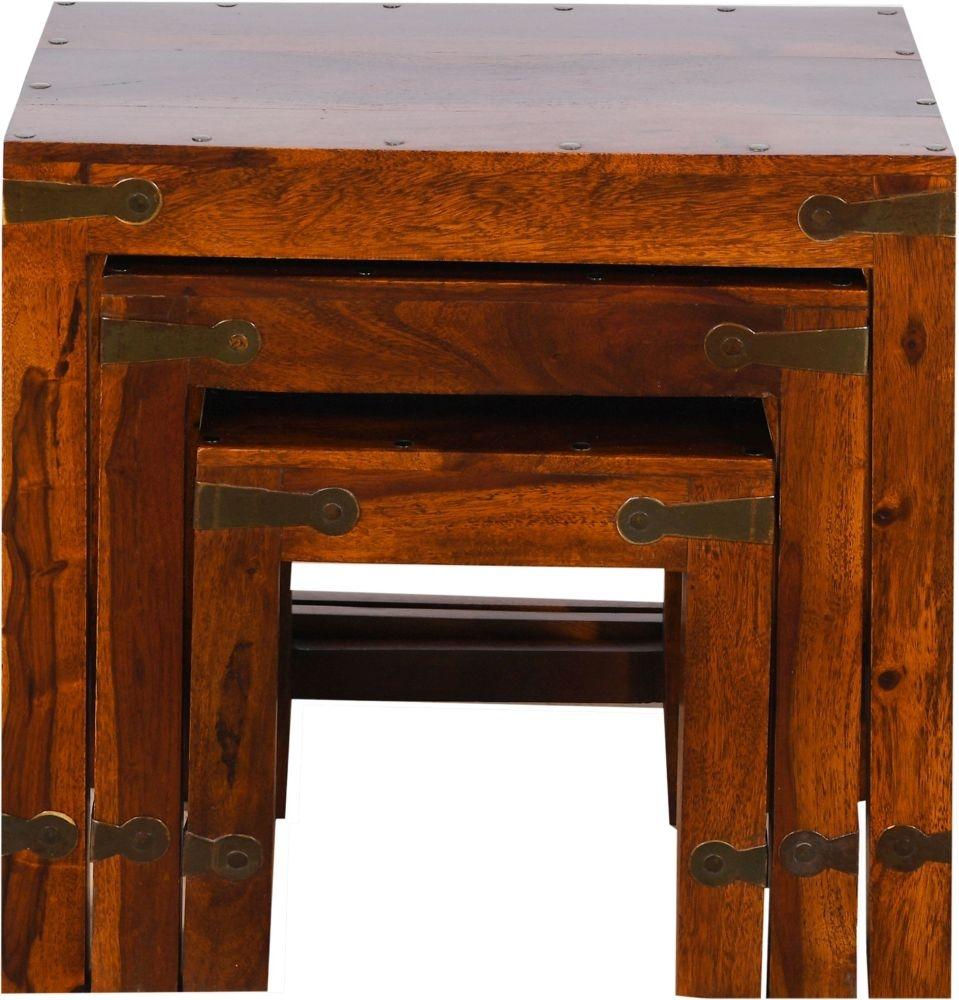 Ganga Indian Sheesham Wood Nest of 3 Tables