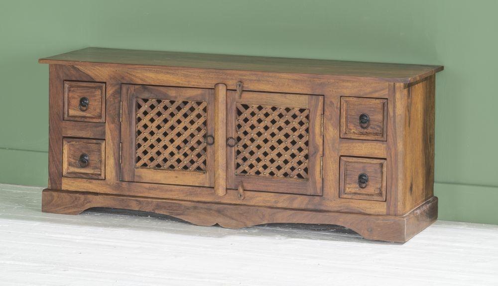 Jali Indian Sheesham Wood 124cm Plasma Media TV Cabinet
