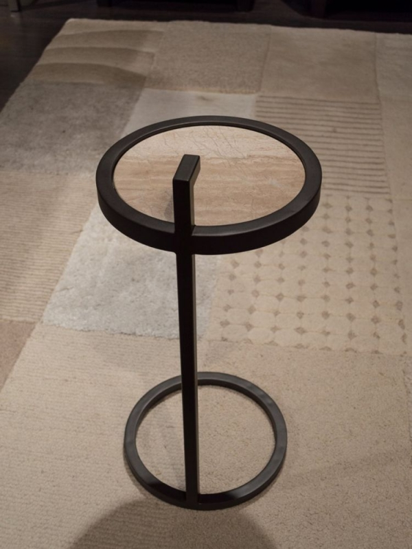 Stone International Billy Marble Round Accent Table with Metal Base
