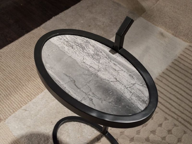 Stone International Billy Marble Oval Accent Table with Metal Base