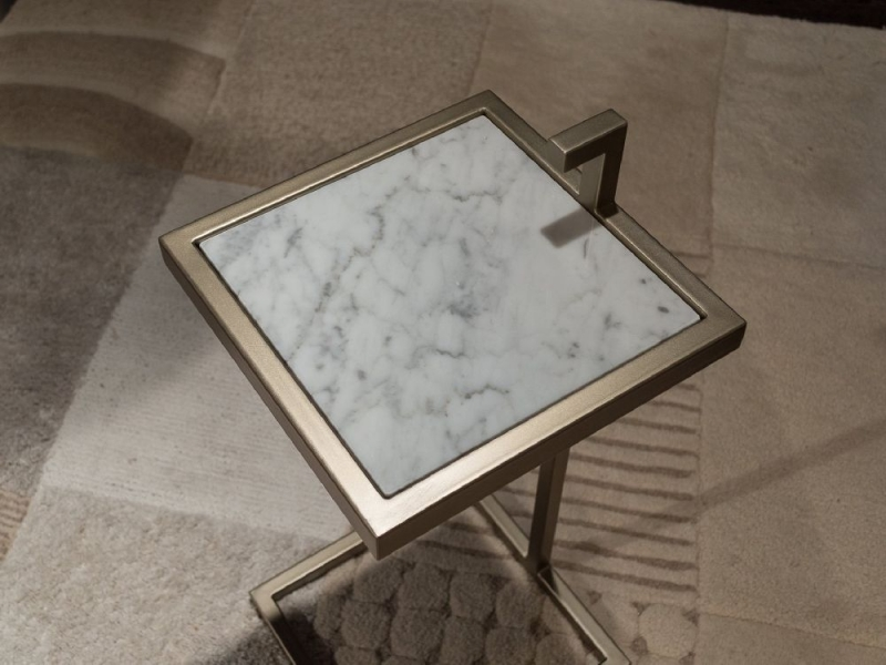Stone International Billy Marble Square Accent Table with Metal Base