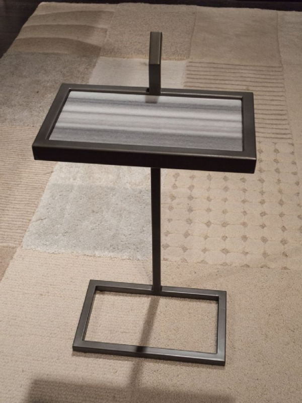 Stone International Billy Marble Rectangular Accent Table with Metal Base
