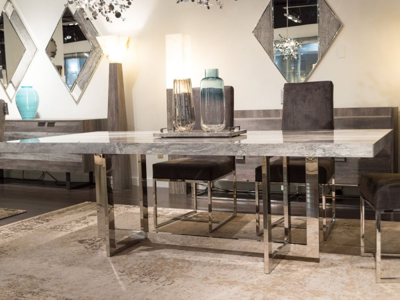 Stone International Horizon Marble and Metal Dining Table