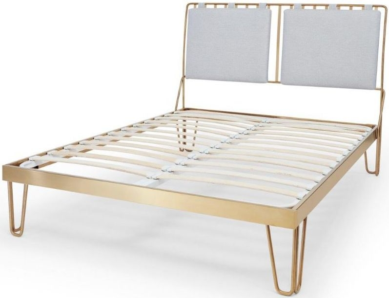 Finn Brass Brushed Bedstead Frame with Silver Woven Fabric Headboard