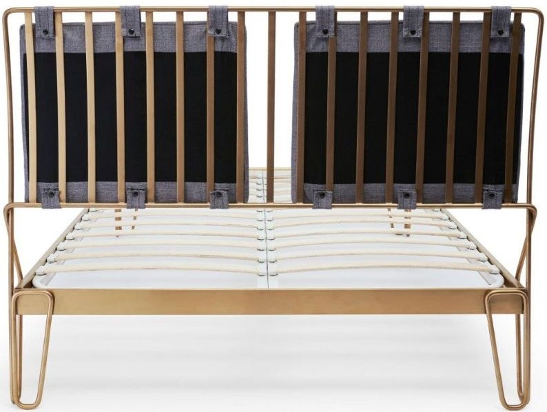 Finn Brass Brushed Bedstead Frame with Pewter Woven Fabric Headboard