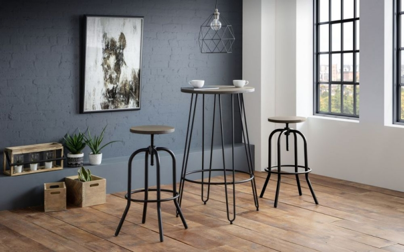 Julian Bowen Spitfire Industrial Mocha and Black Bar Stool