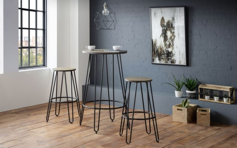 Julian Bowen Dalston Mocha and Black Round Bar Table and 2 Stools