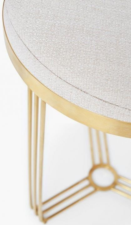 Floriston Natural Woven Fabric and Brass Brushed Round Stool