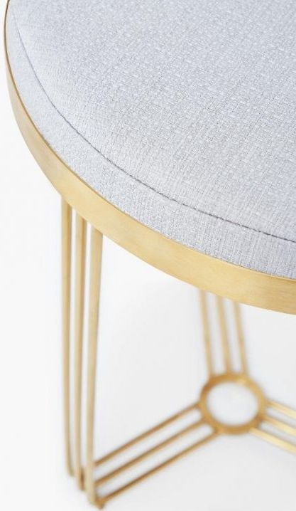 Finn Silver Woven Fabric and Brass Brushed Round Stool