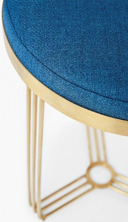 Floriston Admiral Blue Woven Fabric and Brass Brushed Round Stool