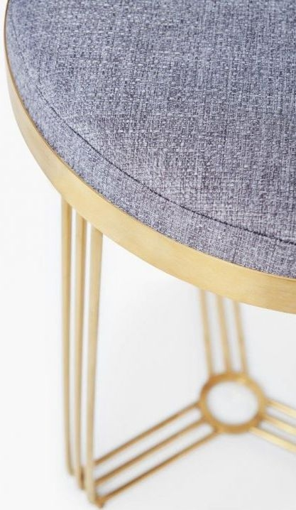 Floriston Pewter Woven Fabric and Brass Brushed Round Stool