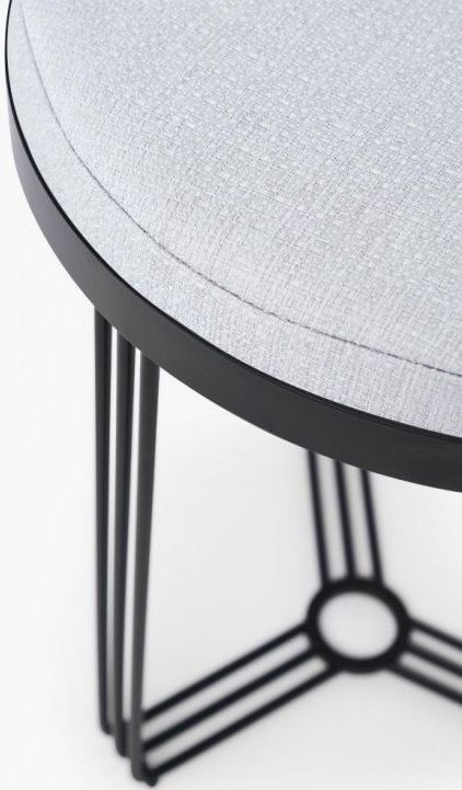 Floriston Silver Woven Fabric and Black Matt Round Stool