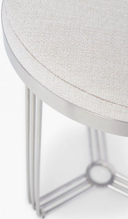 Floriston Natural Woven Fabric and Chrome Round Stool