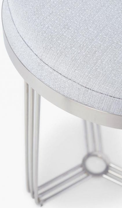 Floriston Silver Woven Fabric and Chrome Round Stool