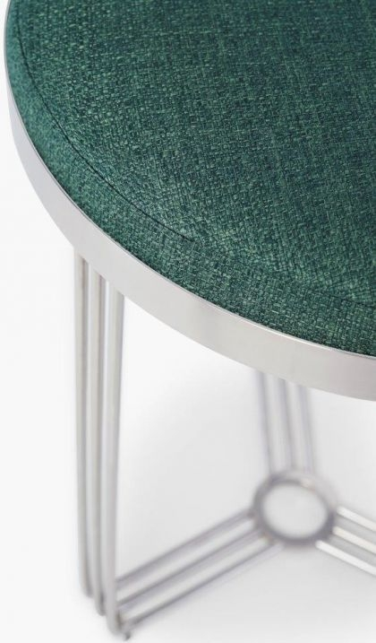 Floriston Conifer Green Woven Fabric and Chrome Round Stool