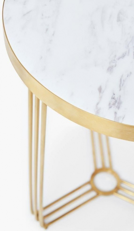 Finn White Marble and Brass Brushed Round Side Table