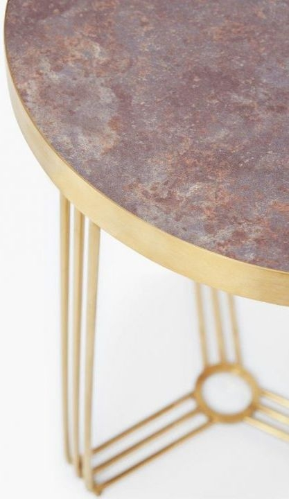 Floriston Dark Stone Laminate and Brass Brushed Round Side Table