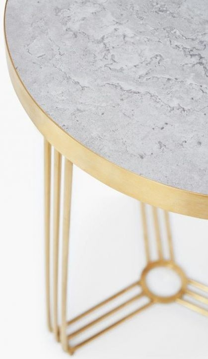 Floriston Pale Stone Laminate and Brass Brushed Round Side Table