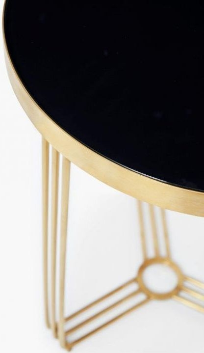 Finn Black Glass and Brass Brushed Round Side Table