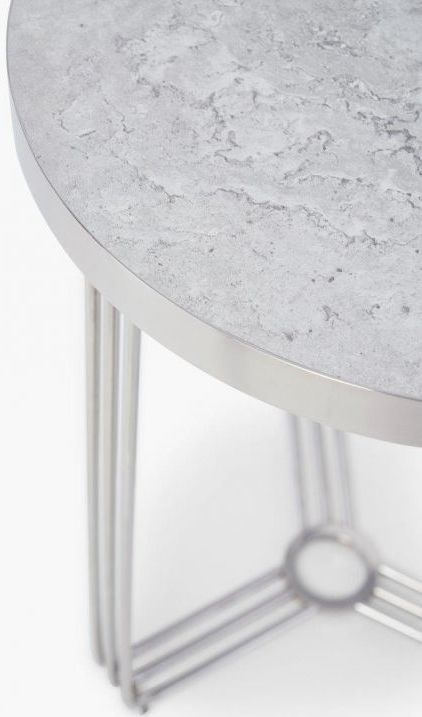 Floriston Pale Stone Laminate and Chrome Round Side Table
