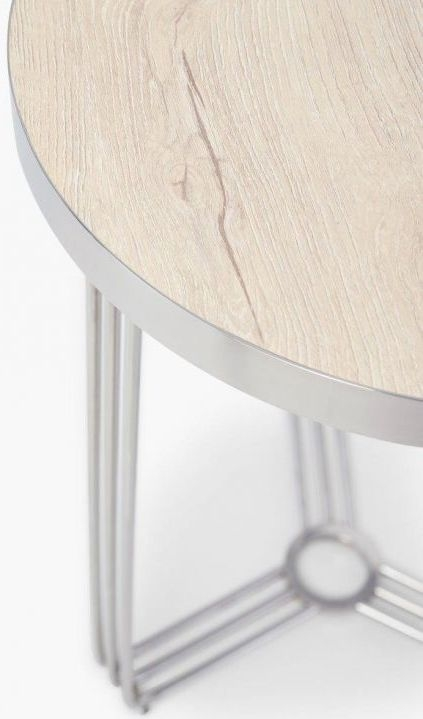 Floriston Pale Oak Laminate and Chrome Round Side Table