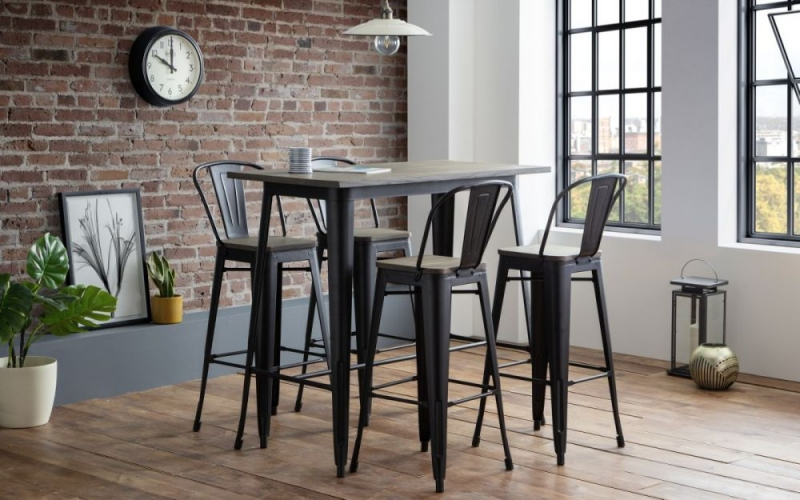 Julian Bowen Grafton Mocha and Black Bar Table and 4 Stools