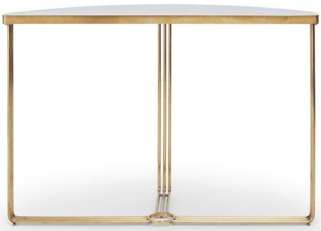 Floriston White Marble and Brass Brushed Half Moon Console Table