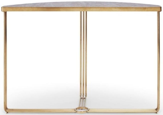 Floriston Dark Stone Laminate and Brass Brushed Half Moon Console Table