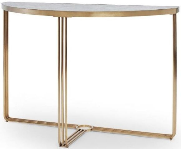 Floriston Pale Stone Laminate and Brass Brushed Half Moon Console Table