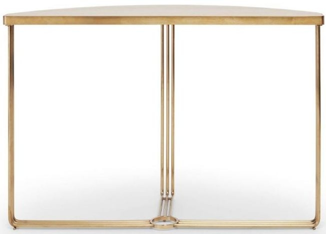 Floriston Pale Oak Laminate and Brass Brushed Half Moon Console Table