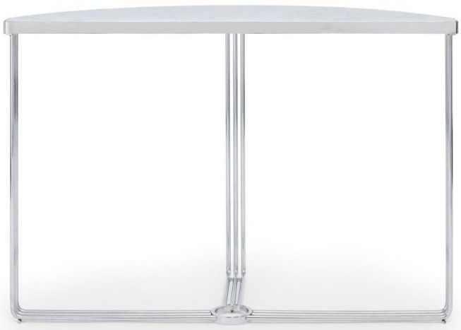Floriston White Marble and Chrome Half Moon Console Table