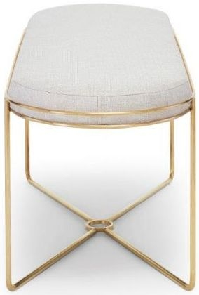 Floriston Natural Woven Fabric and Brass Brushed Ottoman Stool