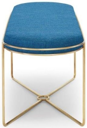 Floriston Admiral Blue Woven Fabric and Brass Brushed Ottoman Stool