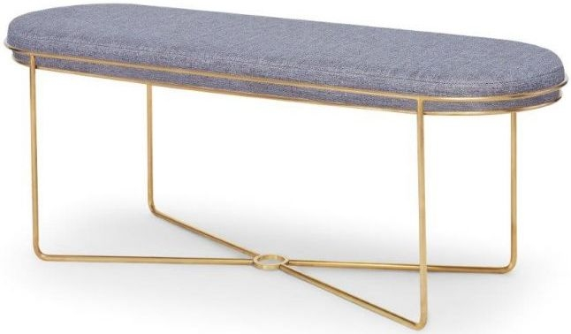 Floriston Pewter Woven Fabric and Brass Brushed Ottoman Stool
