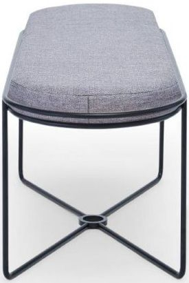 Floriston Pewter Woven Fabric and Black Matt Ottoman Stool