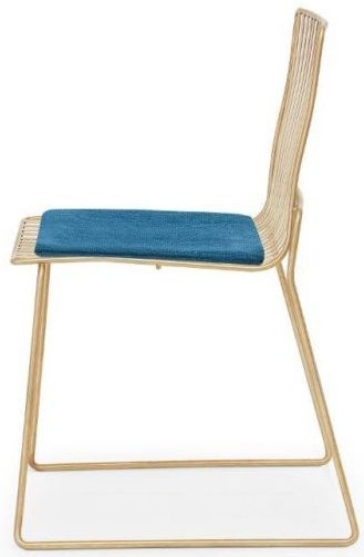 Floriston Admiral Blue Woven Fabric and Brass Brushed Stacking Dining Chair (Pair)