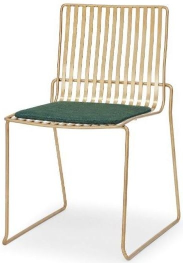 Floriston Conifer Green Woven Fabric and Brass Brushed Stacking Dining Chair (Pair)