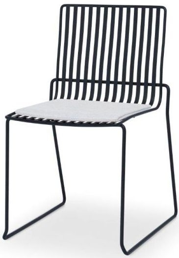Floriston Silver Woven Fabric and Black Matt Stacking Dining Chair (Pair)