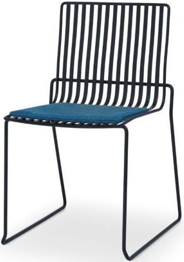 Floriston Admiral Blue Woven Fabric and Black Matt Stacking Dining Chair (Pair)