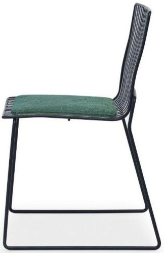 Floriston Conifer Green Woven Fabric and Black Matt Stacking Dining Chair (Pair)