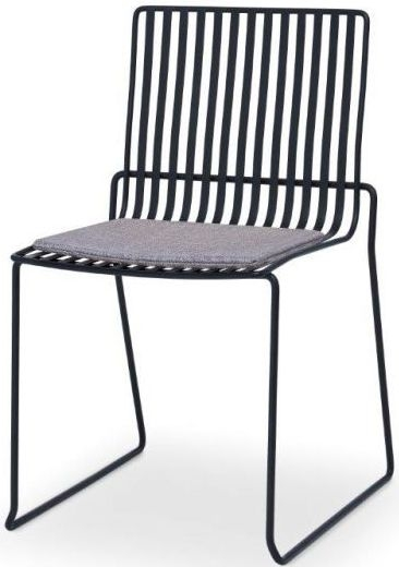 Floriston Pewter Woven Fabric and Black Matt Stacking Dining Chair (Pair)
