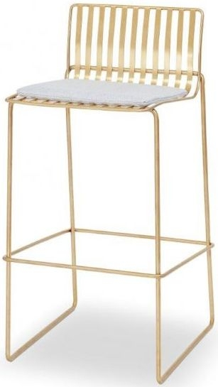 Floriston Silver Woven Fabric and Brass Brushed Bar Stool