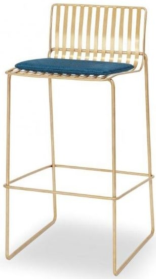 Floriston Admiral Blue Woven Fabric and Brass Brushed Bar Stool